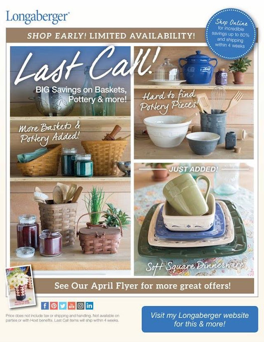 Longaberger Last Call - Retired Pottery **SALE**