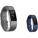 Zodaca 2-Pack (Gray & Dark Blue) Replacement Accessory Soft Silicone Rubber Adjustable Wristband Strap Band with Watchband-style Buckle for Fitbit
