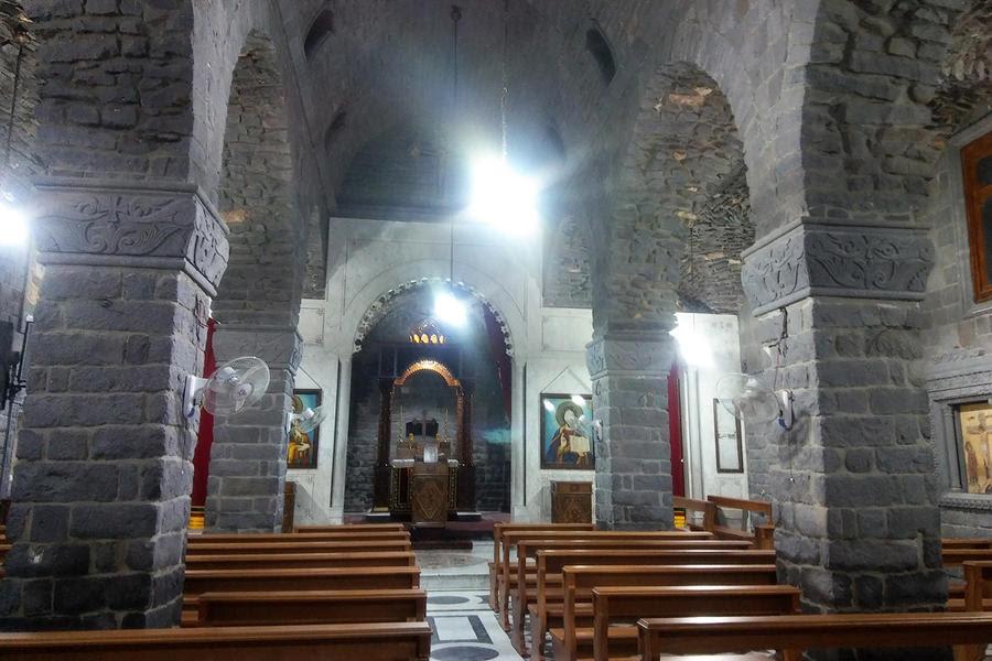 Iglesia de la Virgen del Cinturón en Homs, también reabierta al culto después de su ocupación por grupos armados (Fotos Pablo Sapag M.)
