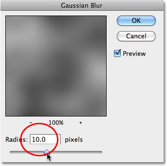 The Gaussian Blur dialog box in Photoshop. Image © 2010 Photoshop Essentials.com.