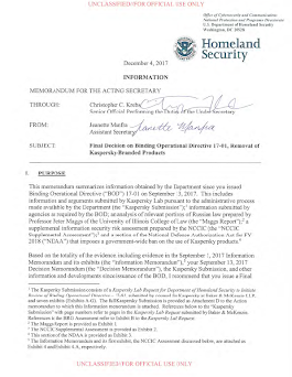 (U//FOUO) DHS Final Decision on Removal of Kaspersky-Branded Products | Public Intelligence