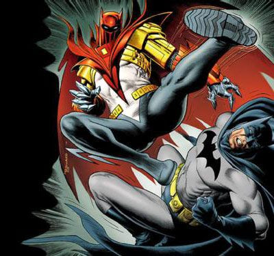 Azrael-Batman brawls with the real Batman in the comic book series KNIGHTSEND.