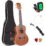 Best Choice Products 23in Acoustic Concert Sapele Ukulele Starter Kit w/ Gig Bag, Strap, Picks, Electric Tuner