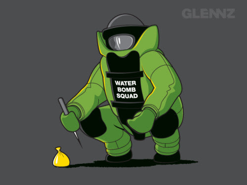Water Bomb Squad - Now Voting.   Watch illustration video  Visit Glennz Tees  | Twitter  | Facebook  | Flickr   | Behance  | Dribbble