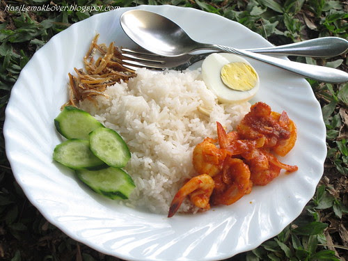Sambal Udang (Chili shrimps) and Nasi Lemak