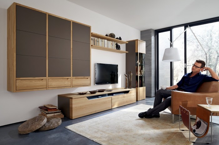 light wood modern media center with chocolate accents