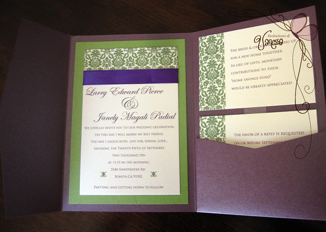Purple and Green Wedding Invitation Ruby purple pocketfold wedding