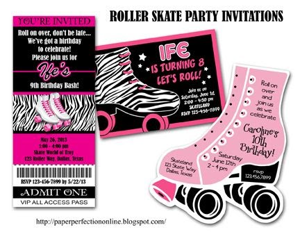 paper perfection: roller skate party invitations, Party invitations