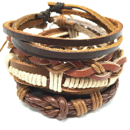 4pcs 1 Set Punk Genuine Wrap Leather Bracelets