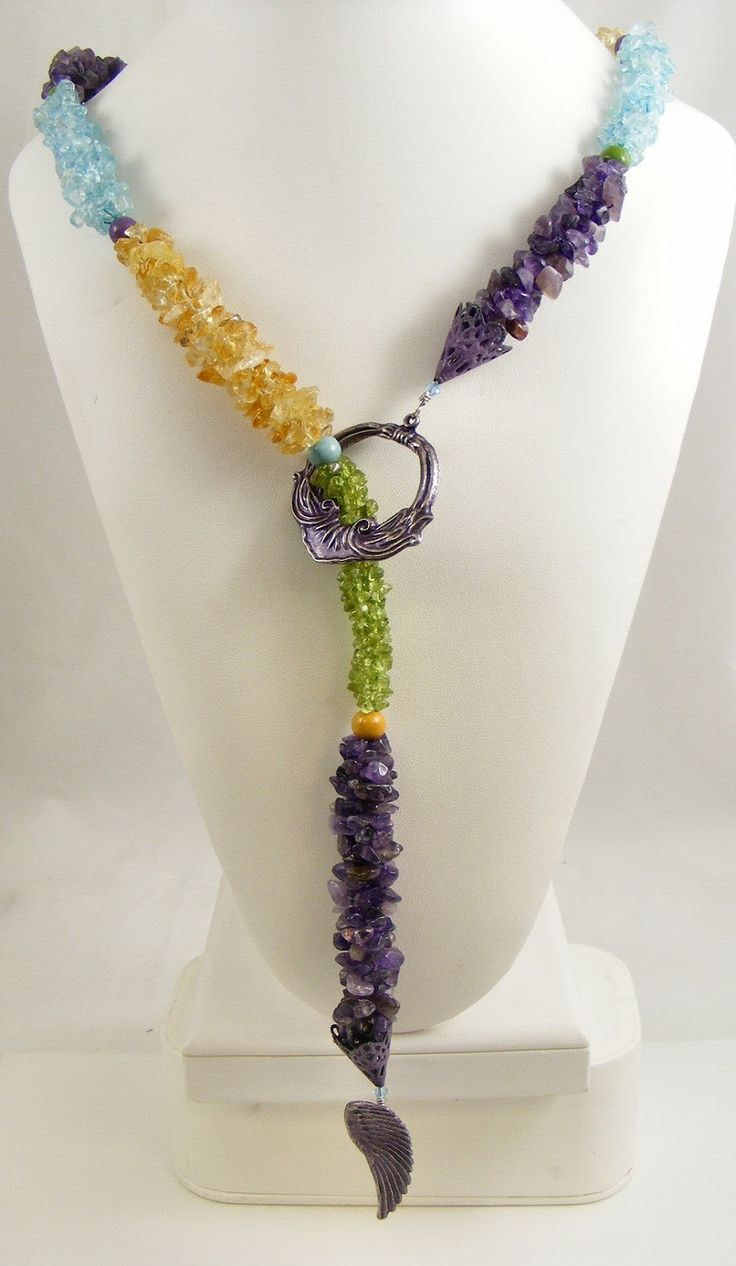 Sweet Freedom Designs: Kumihimo Lariat using Semiprecious Gemstone Chips