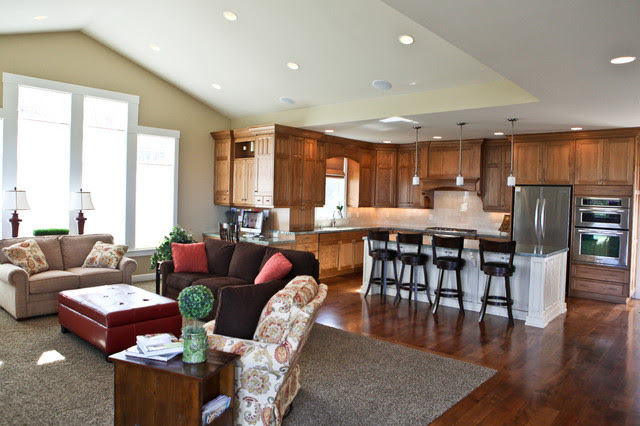 Open Kitchen & Family Room - Traditional - Kitchen - Salt ...