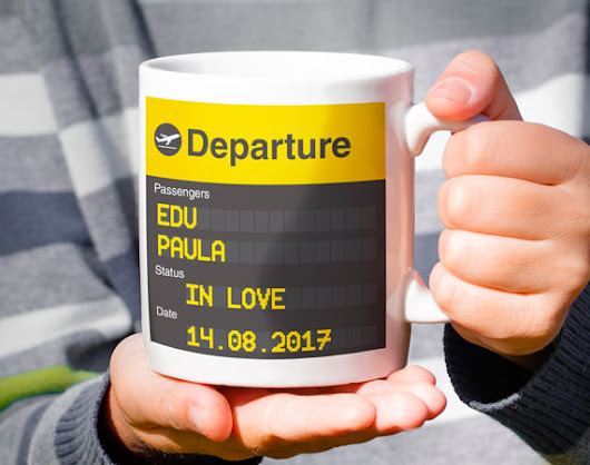 "Taza ""Flight Board"" personalizada"