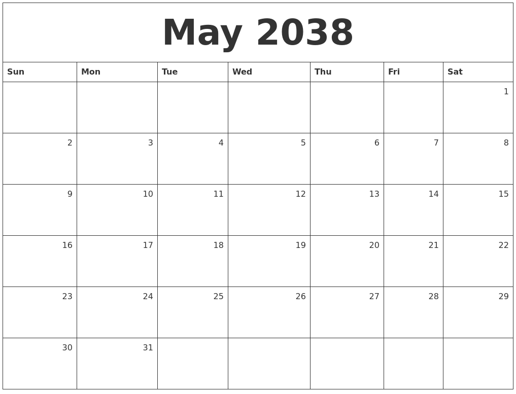 may 2038 monthly calendar