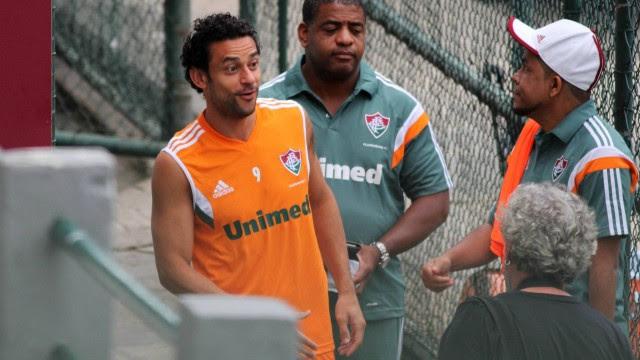 Fred, no treino do Fluminense, nas Laranjeiras