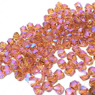 27753011496203 Swarovski Bead - 4 mm Faceted Bicone (5301) - Topaz AB2 (36)