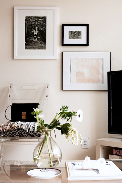 Le Fashion Blog -- A Fashionable Home: Bernadette Pascua's Williamsburg, Brooklyn Apartment -- Framed Art Wall, Lucite Chair, Celine Box Bag -- Via Design Sponge photo Le-Fashion-Blog-A-Fashionable-Home-Bernadette-Pascua-Williamsburg-Brooklyn-Apartment-Celine-Box-Bag-Art-Wall-edit.jpg