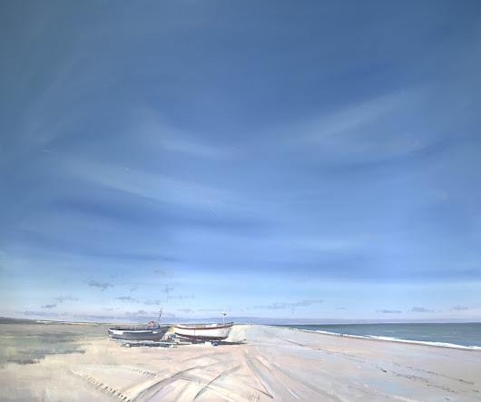 Cley beach with 2 boats - Tom Cringle | Professional Artist
