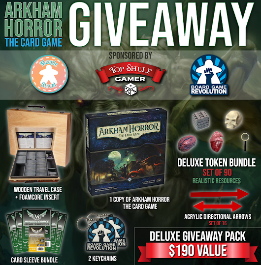 DELUXE Game Bundle Giveaway | Arkham Horror: The Card Game + Deluxe Upgrades from Top Shelf Gamer