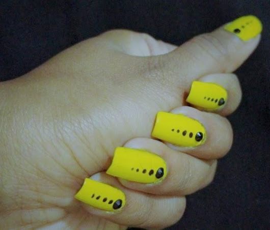 Quick Simple Bright Yellow Color Nail Art - GirlyVirly