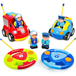 Best Choice Products Set of 2 Kids Cartoon RC Remote Control Firetruck and Police Car Toy w/ 2 Remotes, 2 Action Figures - Multicolor
