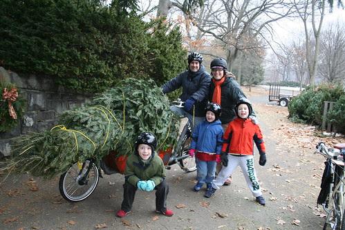 Christmas Tree Hauling by Bike-- Family Shot