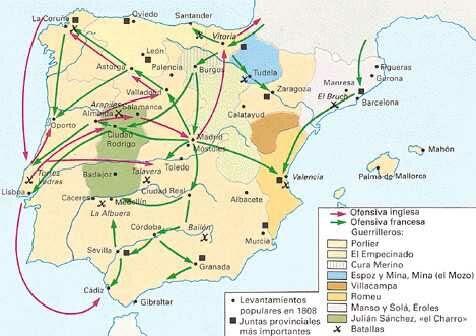 Guerra de la Independencia | Mapas Mapa resumen.