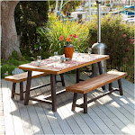 Christopher Knight Home Carlisle 3-Piece Rustic Wood Patio Dining Set, Brown/Black