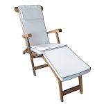 Chic Teak Titanic Indoor/Outdoor Chaise Lounge Cushion, White