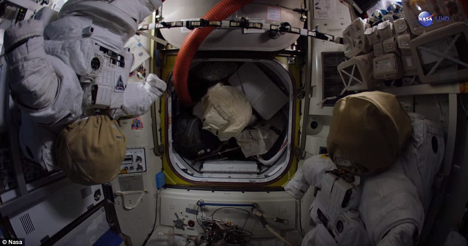 Spacesuits on the station await their astronauts