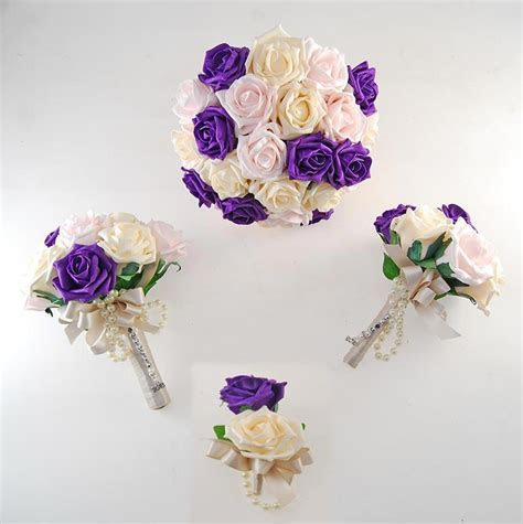 Vanessa Purple, Light pink, Cream Rose & Handle Name Charm