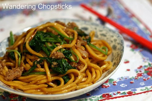 Shanghai Noodles with Ground Pork, Spinach, and Onions 11