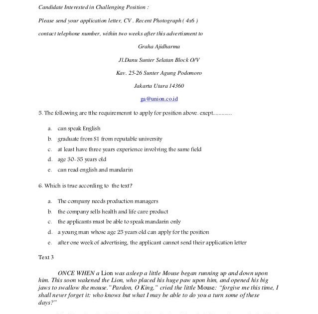 Contoh Soal Essay Application Letter Dan Jawabannya Ilmusosial Id