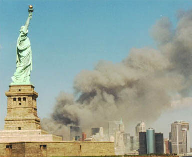 National Park Service 9-11 Statue of Liberty and WTC