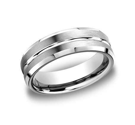 BENCHMARK Rings 14k White Gold Beveled Edge Mens Wedding Band