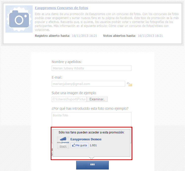 Easypromos - Ventana popup usuarios no fans