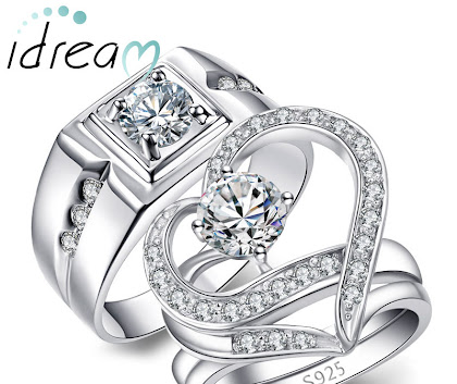 Couples Matching Open Heart Shaped Wedding Engagement Rings Sets with CZ in Silver