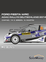 Mf-zone: Calcas escala 1/24 - Ford Fiesta WRC Kel-Tech Nº 14 - Craig Breen (IE) + Scott Martin (GB) - Rally de Alemania ADAC 2014 - para kit de Belkits BEL-003
