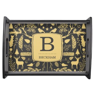 Monogram Woodland Holiday Serving Tray
