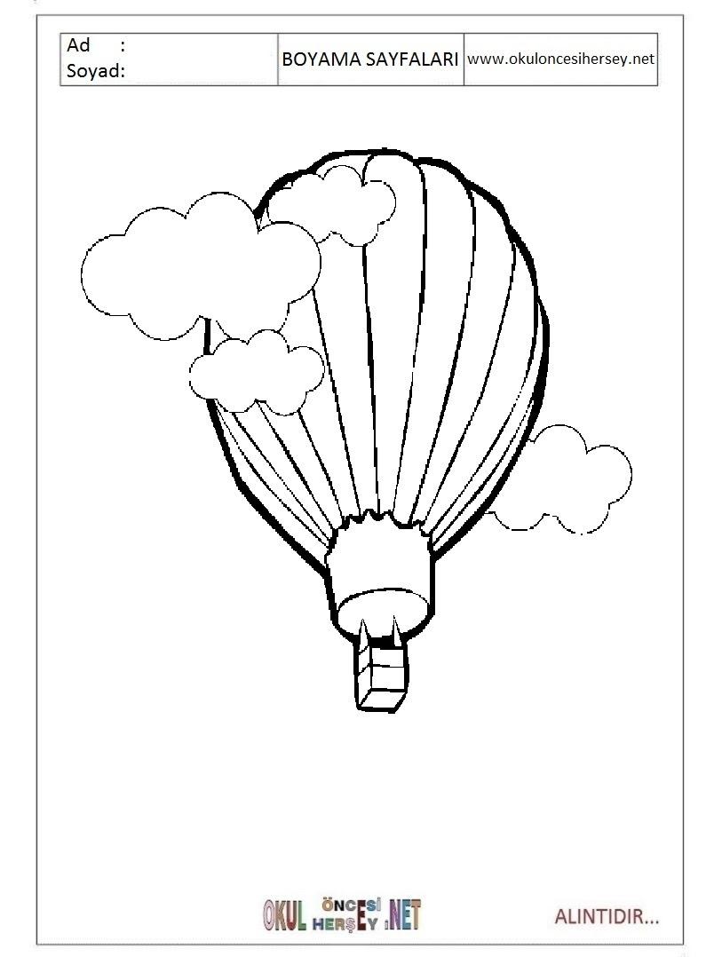 Balon Boyama Sayfaları