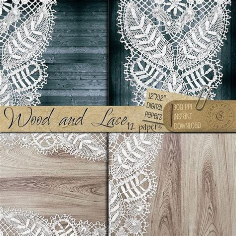 Rustic Wood And Lace   12x12 Inch Digital Printable Papers
