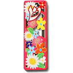 Small Wooden Mezuzah Case Pink Red Yellow Flowers Floral Shin, 3.75""