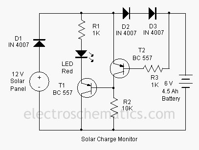 simple circuit schematic solar charger monitor