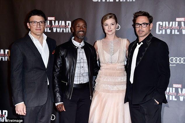 The whole group: The stars looked pumped for the movie's release