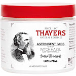 Thayers Witch Hazel Astringent Pads with Aloe Vera - 60 count