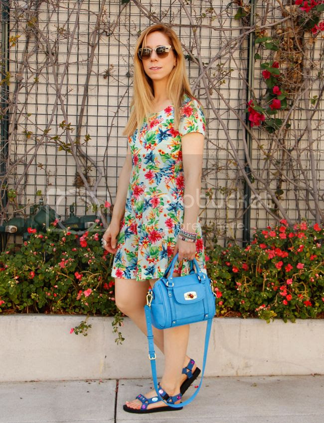 LA fashion blogger The Key To Chic wears DIY jeweled Teva sandals and a Forever 21 tropical print dress