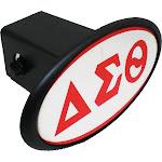 """Delta Sigma Theta Mirror Domed Trailer Hitch Cover [Black - 2""""R]"""