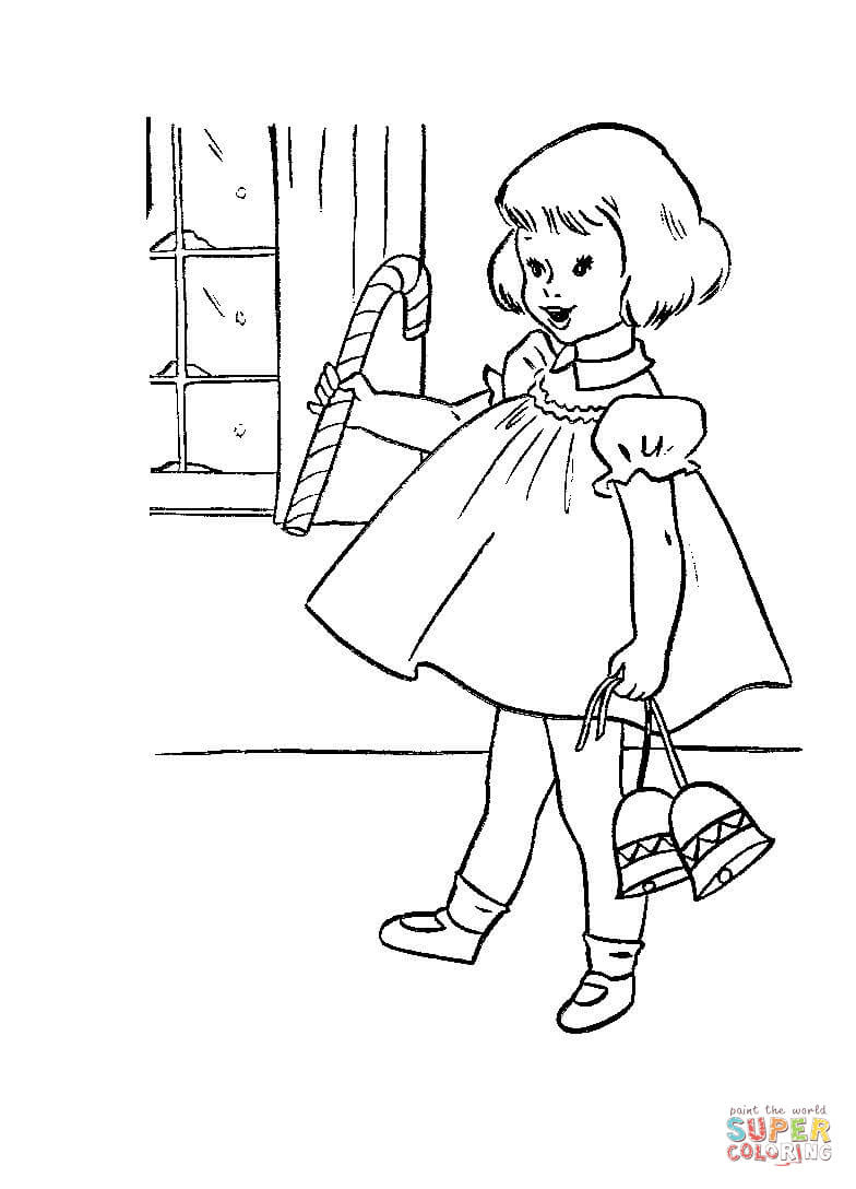 Little girl with Candy and Christmas Bells coloring page ...