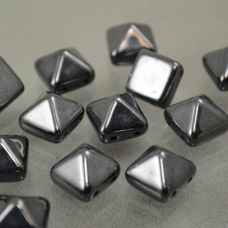 s37639 Glass Beads - 12 mm Bead Stud - Gunmetal (1)