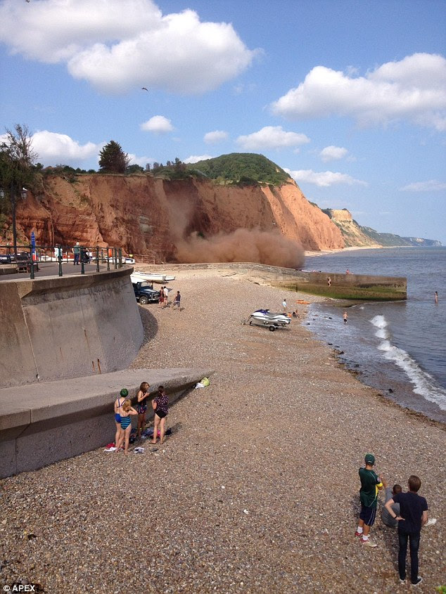 Police have urged tourist to avoid the east end of the beach - where a man was killed by a cliff fall in 2012