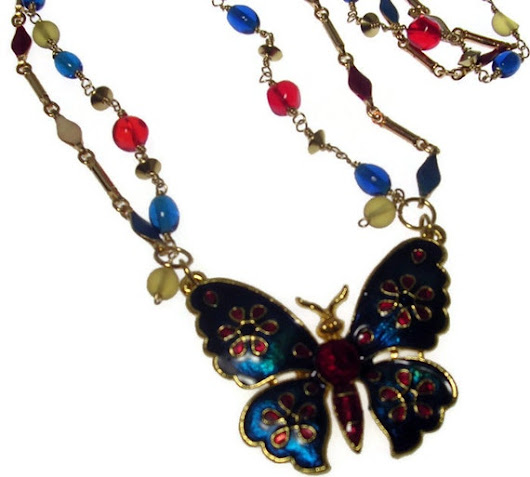 Red Blue Necklace -July 4th Color Beads - Wire Wrapped -Enamelled Butterfly Pendant
